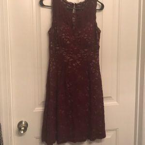 Maroon Lace Asymmetrical Dress